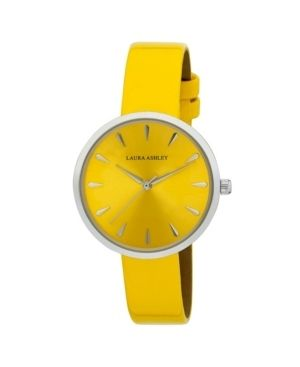 laura Ashley Womens Silver Round Case with Yellow Strap Watch
