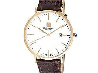 Steinhausen Men s S0522 Classic Burgdorf Swiss Quartz Stainless Steel Watch with Brown leather Band  Retail 86 49