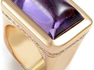 Italian Collection 18K Rose Gold Amethyst   Diamond Ring 18056001  Retail 1913 99