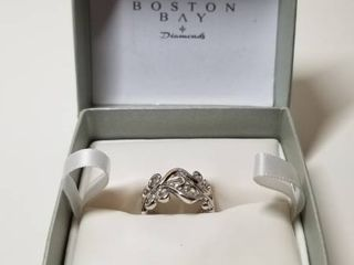 Boston Bay Diamonds 925 Sterling Silver Open Scroll Band Ring