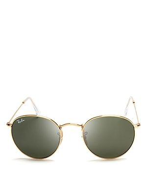Ray Ban Round Metal RB3447 Unisex Gold Frame Green Classic lens Sunglasses  Retail 142 99