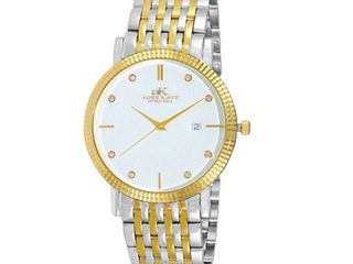 Adee Kaye Men s Gold tone Silvertone Stainless Steel and Crystal Watch  Retail 119 49