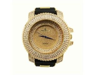 Hip Hop Gold Iced Out Mens Rubber Watch   7973 RuGold