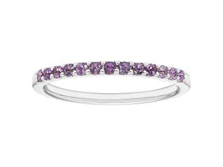 14karat White Gold Amethyst February Birthstone Stackable Band Ring  Retail 311 99
