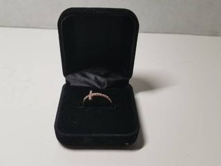 Sterling Silver Rose Gold Plated Cubic Zirconia Cross Ring