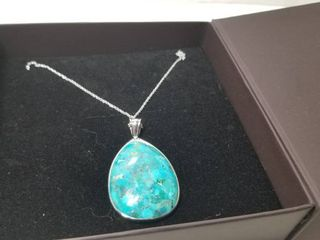 Sterling Silver Turquoise Teardrop Pear Shape Pendant Necklace