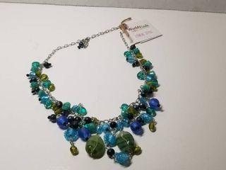 Handmade Silver Metal Green and Blue Glass Bead Charm Necklace  India
