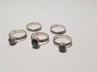 Handmade Blue labradorite and Moonstone Rings  Set of 5  India