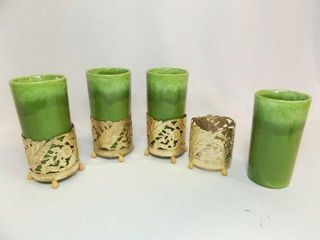 Green Glasses  5  with Gold Tone Holders  4