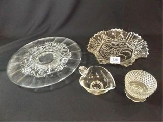 Clear Glass Platter  Pieces  4