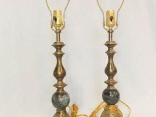 lamps   Brass Tone w  Stone Insert  27   2