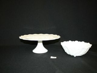 White glass Serving pieces  Cake Plate  Bowl