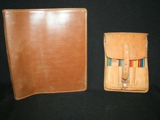 leather 3 ring binder  leather memo pouch