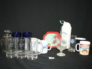 Group of Drinkware  tray  Most horse related