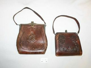 leather Purses  2  Hand Punched Designs