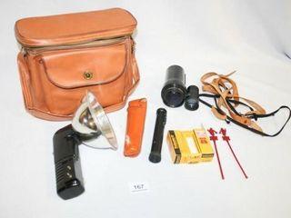 Orange leather Camera Bag  lenses  Film