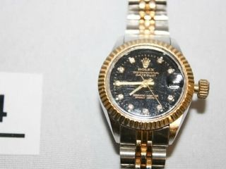 Rolex type Watch Women s style  Black Face