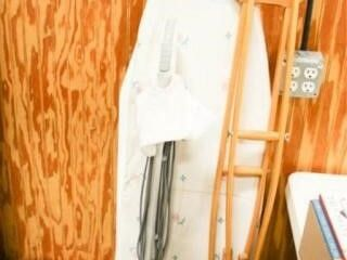 Full Size Ironing Board  2 Wooden Crutches