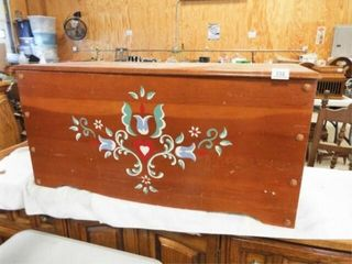 Cedar Chest  Wood  Painted   no contents