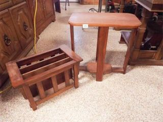 Wood Accent Table  Magazine Rack
