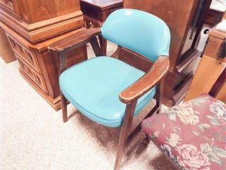 Wood Chair  Blue Upholstery