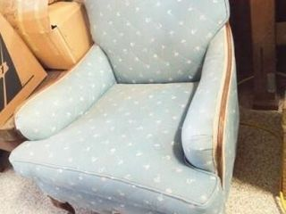 Upholstered Blue Chair  Wood Frame