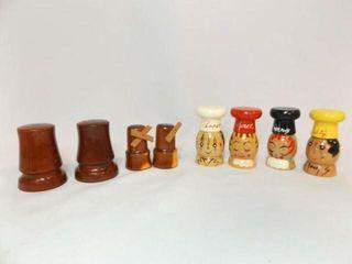 Wood Salt   Pepper Shakers  4 sets