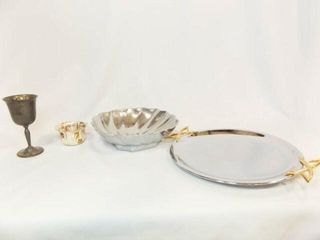 Silver Tone Platter  Bowl  Pieces  4