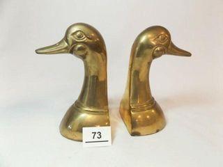 leonard Brass Duck Book Ends