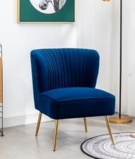 Navy Blue Annabella Mid Century Modern Upholstered Armless Accent Chair Retail  165 49