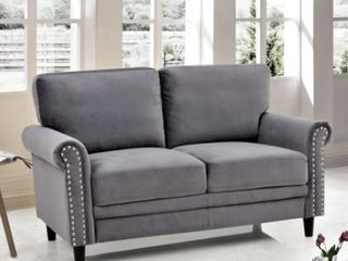 Ceva Nailhead Velvet loveseat Grey  Retail 527 49