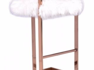 Modest Halifax Modern White Faux Fur   Rose Gold Bar Stool