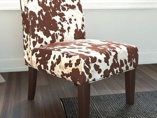 The Gray Barn Echo Park Quintero Cowhide Print Fabric Dining Chair  Retail 117 49
