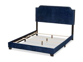 Queen Darcy Velvet Upholstered Bed Navy Blue   Baxton Studio