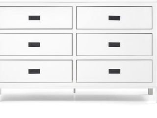 57 in  Classic Solid Wood 6 Drawer Dresser  White