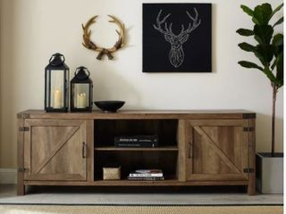 The Gray Barn Firebranch 70 inch Barn Door TV Console  Retail 294 49  Damage and No Hardware Instructions