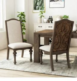 The Gray Barn Cornerways Rustic Ivory Fabric Side Chair  Set of 2