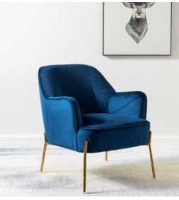 Nora Accent Premium Velvet Upholstered Accent Chair  Navy