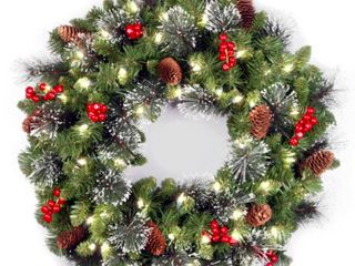 24 in  Crestwood R  Spruce Wreath with Battery Operated Warm White lED lights