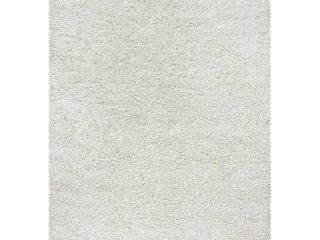 JONATHAN Y Mercer Shag Plush Tassel White 7 ft 9 in  x 10 ft  Area Rug