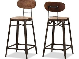 Set of 2 Baxton Studio Varek Vintage Rustic Industrial Style Bamboo and Rust Finished Steel Stackable Counter Stool Set