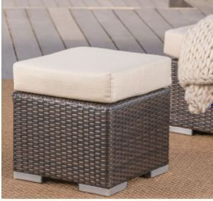 Santa Rosa Outdoor 16 inch Square Wicker Ottoman with Cushion by Christopher Knight Home  Retail 167 49