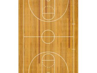 Mohawk Home Prismatic Basketball Court Brown Contemporary Theme Kids Precision Printed Area Rug
