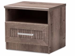 Baxton Studio Gallia Modern and Contemporary Oak Brown Finished 1 Drawer Nightstand