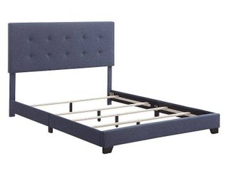 HomeFare Biscuit Tufted Queen Bed in Heathered Denim Blue