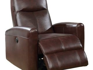 Brown  Eli Contemporary leather living Room Power Recliner with lumbar Massage  Retail 529 99