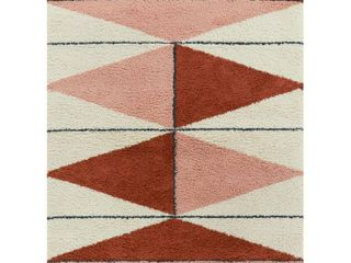 BAlTA levine Burnt Orange 5 Ft  x 7 Ft  Geometric Shag Area Rug