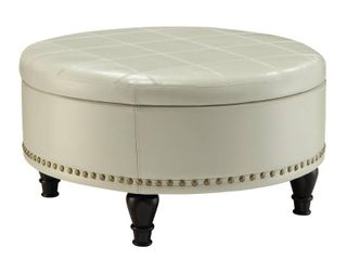 INSPIRED by Bassett Augusta Storage leather Ottoman in Cream
