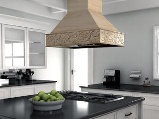 Incomplete  Missing Chimney  Zline 36 In  Unfinished Wooden Island Mount Range Hood  Retail   979 95