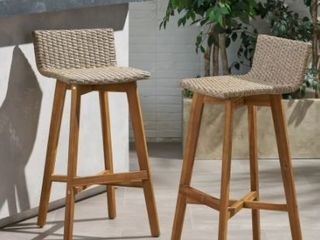 la Brea Outdoor Acacia Wood And Wicker Brown Chair  Set of 2